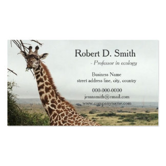 African wild giraffe science professional business card