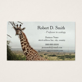 African wild giraffe science professional business card