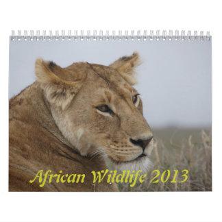 African wildlife calendar 2013