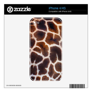 African Wildlife Giraffe Fur Photo Design Decal For iPhone 4