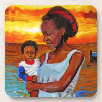 African Woman and Child by Sea with Sunset Drink Coaster