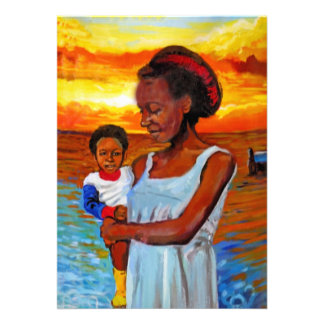 African Woman and Child by Sea with Sunset Custom Announcements