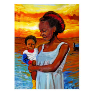 African Woman and Child by Sea with Sunset Postcard