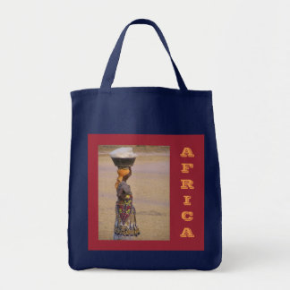 """AFRICAN WOMAN;BASKET ON HEAD/AFRICA""GROCERY TOTE"