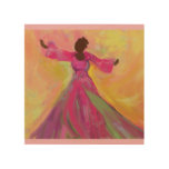 African Woman Dancing Wood Print