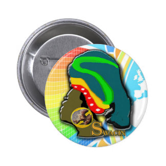African Woman in the Rainbow Button