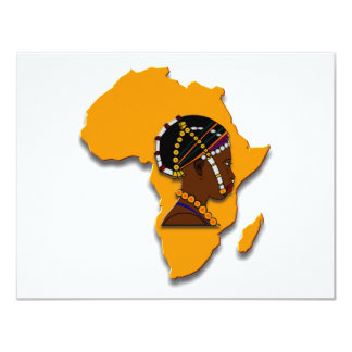 African Woman on the Continent 4.25x5.5 Paper Invitation Card