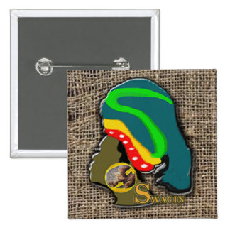 African Woman on the Square Rag Button