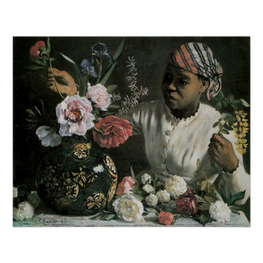 African Woman Peonies by Bazille, Vintage Flowers Poster