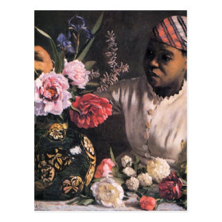 African Woman Planting Flowers in a Vase Postcard