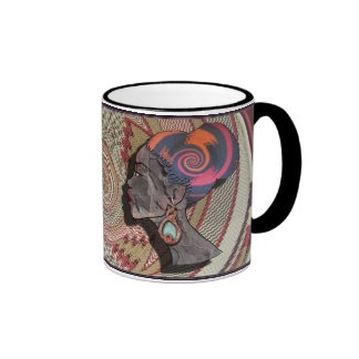 African woman profile on a woven basket ringer coffee mug