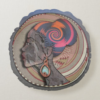 African woman profile on a woven basket round pillow
