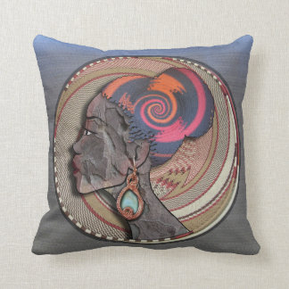 African woman profile on a woven basket throw pillow