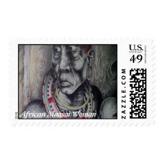 African Woman Vintage Stamp