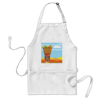 African woman with basket of food adult apron