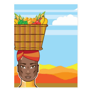 African woman with basket of food postcard