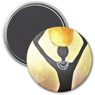 African Woman with Gold Jar on Head 3 Inch Round Magnet