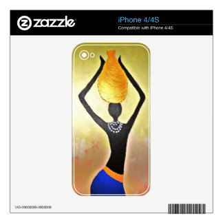 African Woman with Gold Jar on Head Skin For iPhone 4