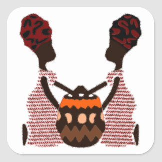 African Women and a Basket Modern Kwanzaa Square Sticker