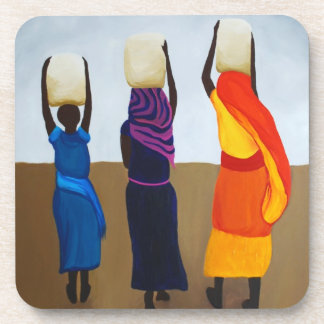 African Women Carrying Heavy Load Beverage Coaster