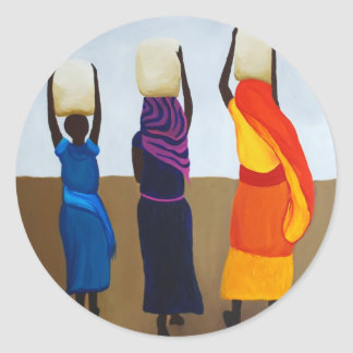 African Women Carrying Heavy Load Classic Round Sticker