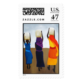African Women Carrying Heavy Load Postage