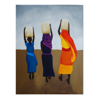 African Women Carrying Heavy Load Poster