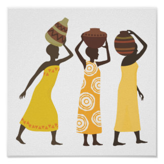 African Women carrying water Poster