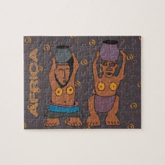 African women carrying water / Traditional art Puzzles