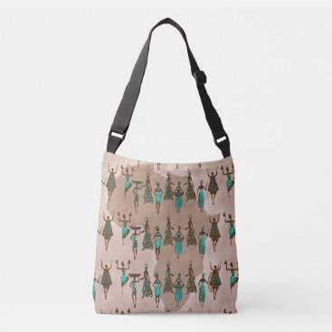 frankiesdaughter African Women Print Cross Body Canvas Bag