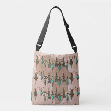 Beach Themed African Women Print Cross Body Canvas Bag