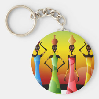 African Women with Pottery on their heads Basic Round Button Keychain