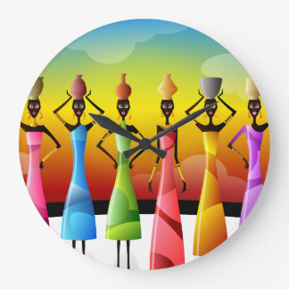 African Women with Pottery on their heads Large Clock