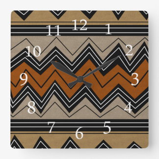 African Zigzags and White Numbers Square Wall Clock