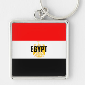 Africankoko Custom Collection(Cairo, Egypt) Silver-Colored Square Keychain