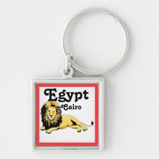 Africankoko El Cairo de encargo, Egipto Llavero Cuadrado Plateado