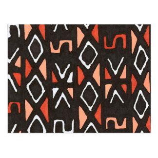 Africano anaranjado Mudcloth Postal
