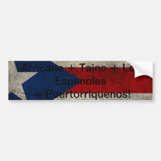 Africano + Taino + ¡Los Espanoles= Puertorriquenos Pegatina Para Auto
