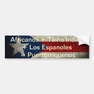 Africanos + Taino Indios + Los Espanoles = Puertor Pegatina Para Auto