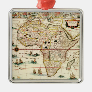 AfricaPanoramic MapAfrica 2 Metal Ornament