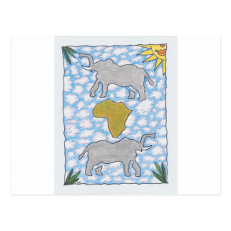 AFRIKA ELEPHANTS by Ruth I. Rubin Postcard