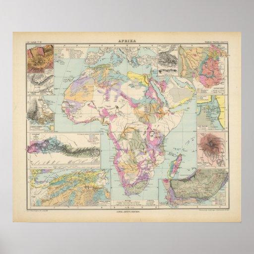 Afrika - mapa del atlas de África Póster