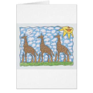 AFRIKA THREE GIRAFFES by Ruth I. Rubin Card