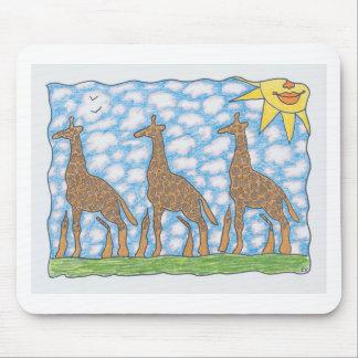 AFRIKA THREE GIRAFFES by Ruth I. Rubin Mouse Pad