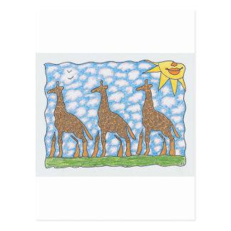 AFRIKA THREE GIRAFFES by Ruth I. Rubin Postcard