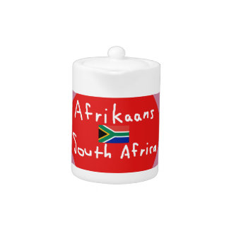 Afrikaans South Africa Language And Flag Teapot