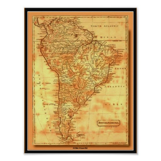 AfriMex Urbano Old World Map South America Poster Zazzle