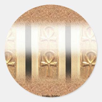 AfriMex Urbano Triple Ankh Sticker (Round)