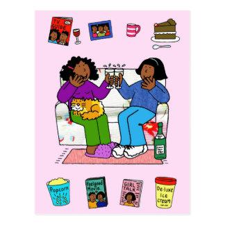 Afro American girlfriends, night in drinking wine. Postcard