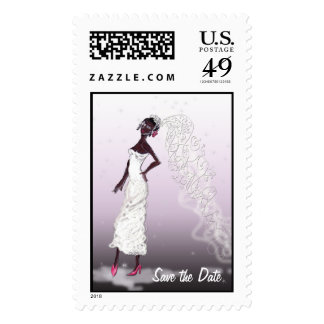 Afro American Save the Date Wedding Postage